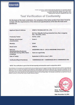 ORBITA INTERTEK certificate